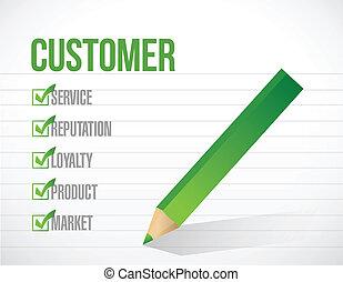 vásárló, lista, ábra, megjelöl, tervezés, ellenőriz