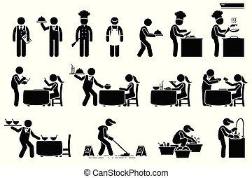 vásárlók, munkás, dolgozók, restaurant., ikonok