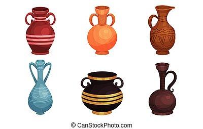 váza, ősi, ábra, bögre, fazekasáru, kerámiai, vektor, set., agyag