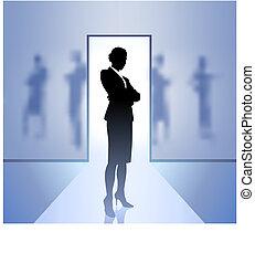 végrehajtó, háttér, üzletasszony, összpontosít, elmosódott