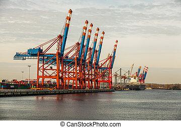 végső, berakodás, hajó, rév, offloading