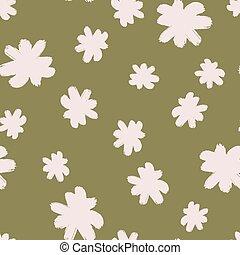 véletlen, seamless, print., háttér., white virág, nyersgyapjúszínű bezs, szüret, rügy, ditsy, motívum, elements.