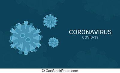 vírus, 2019-ncov, háttér, ábra, betegség, coronavirus, kék, wuhan, vektor
