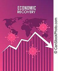 vírus, felépülés, nyíl, lefelé, gazdasági, földdel feltölt, poszter, particles, covid19, térkép