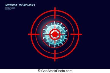 vírus, poly, laboratórium, influenza, analízis, modern, alacsony, technológia, tudomány, ábra, influenza, coronavirus, abbahagy, fertőzés, render., orvosság, 3, vektor, pneumonia.
