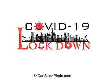 /, vírus, transzparens, lockdown, város, korona, ábra, covid-19, országos járvány