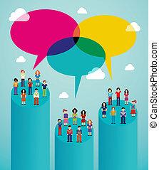 vírusos, hálózat, emberek, kommunikáció, globális, társadalmi