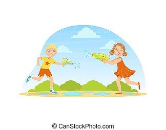 víz, ábra, fegyverek, boldog, csinos, vektor, leány, fiú, játék, szabadban