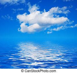 víz, ég, elhomályosul, kék