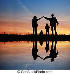 víz, épület, árnykép, napnyugta, család