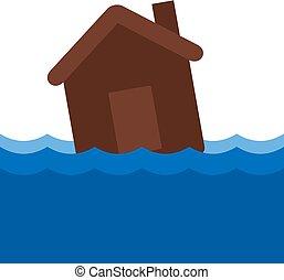 víz, épület, fulladás