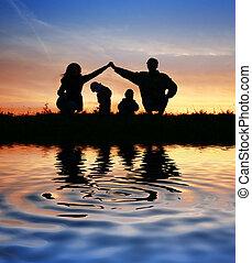 víz, épület, szülők, gyerekek, sky.