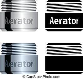 víz, aerator, megmentés, vektor