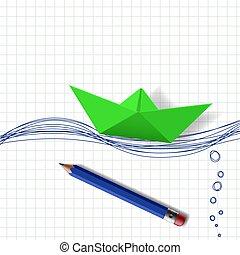 víz, akol, dolgozat, zöld, húzott, csónakázik, felszín