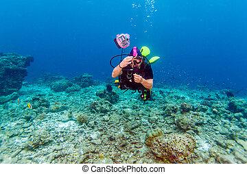 víz alatti, fényképezőgép, ökölvívás, ember, ázsiai
