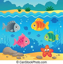 víz alatti, fauna, 2, téma, óceán
