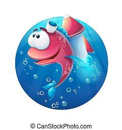 víz alatti, fish, karikatúra, rakéta, furcsa