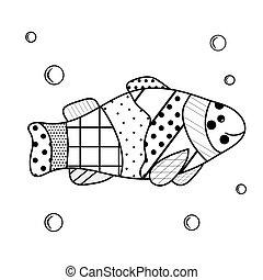 víz alatti, körülbelül, színezés, felnőttek, elements., lakosok, fish, zenart, képzés, karikatúra, víz, bubbles., könyv, sea., egyszerű, gyerekek, kártya, dweller.
