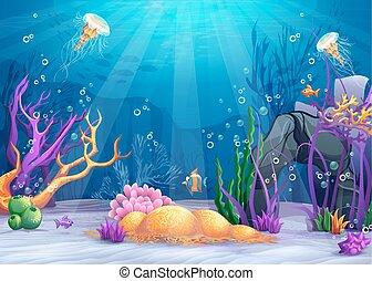 víz alatti, karikatúra, ábra, világ