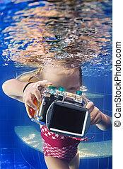 víz alatti, kevés, tart, fénykép fényképezőgép, gyermek, pool.