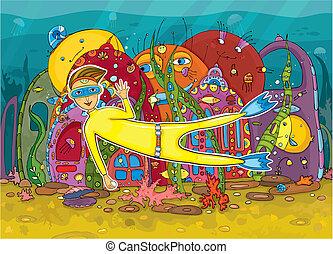víz alatti, lakos, műugró