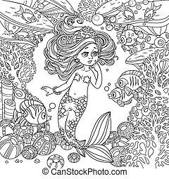 víz alatti, világ, ámulat, leány, korall, fish, kevés, karikatúra, keret, háttér, hableány, őt kommunikál, kökörcsinfélék, körvonalazott