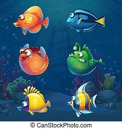 víz alatti, világ, fish, karikatúra, állhatatos, furcsa