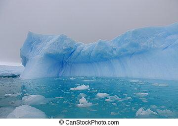 víz, antarktisz, jéghegy, égszínkék