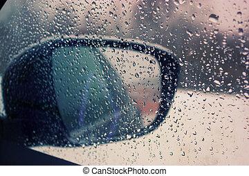 víz, autó, savanyúcukorka, tükör