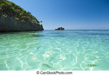 víz, caribbean, kilátás