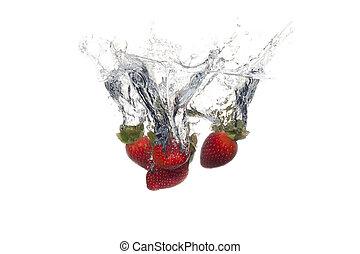 víz, csöpögött, loccsanás, gyümölcs, friss, háttér, fehér