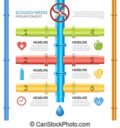 víz, csővezeték, ökológia, infographics