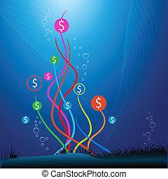 víz, dollár, alatt