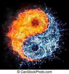 víz, elbocsát, yang, -, yin, fogalom