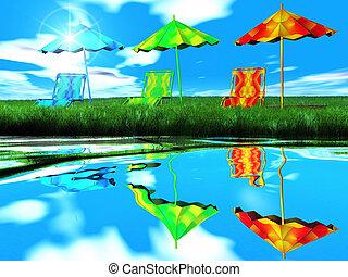 víz, esernyők