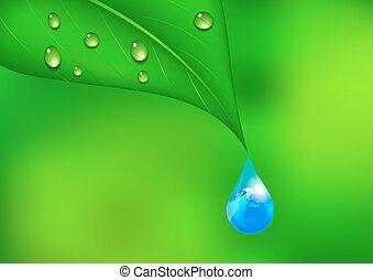 víz, földdel feltölt, csepp, háttér