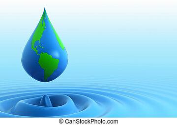 víz, földdel feltölt, csepp