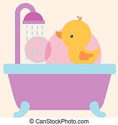 víz, fürdőszoba, játékszer, gumi, zápor, kacsa, fürdőkád