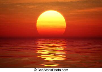 víz, felett, napnyugta, tranqual