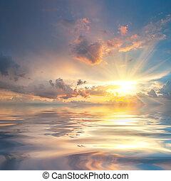 víz, felett, napnyugta, visszaverődés, tenger