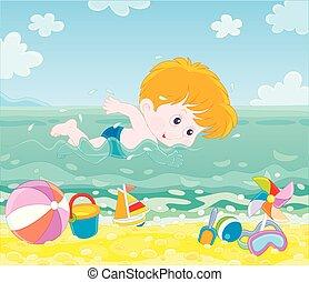 víz, fiú, tengerpart, úszás