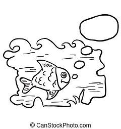 víz, fish, fekete, fehér