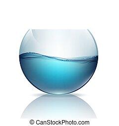 víz, fishbowl, fehér, elszigetelt, háttér
