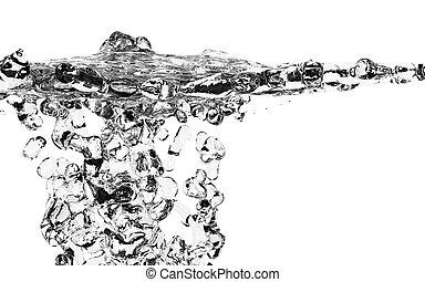 víz, friss, felett, loccsanás, fehér