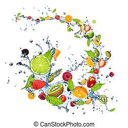 víz, gyümölcs, loccsanás, friss, háttér, esés, elszigetelt, fehér