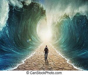 víz, gyalogló, át
