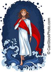 víz, gyalogló, jézus