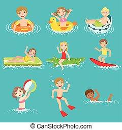 víz, gyerekek, állhatatos, játék