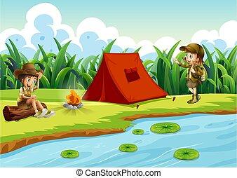 víz, gyerekek, kempingezés sátor