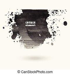 víz, húzott, stains., kéz, tinta
